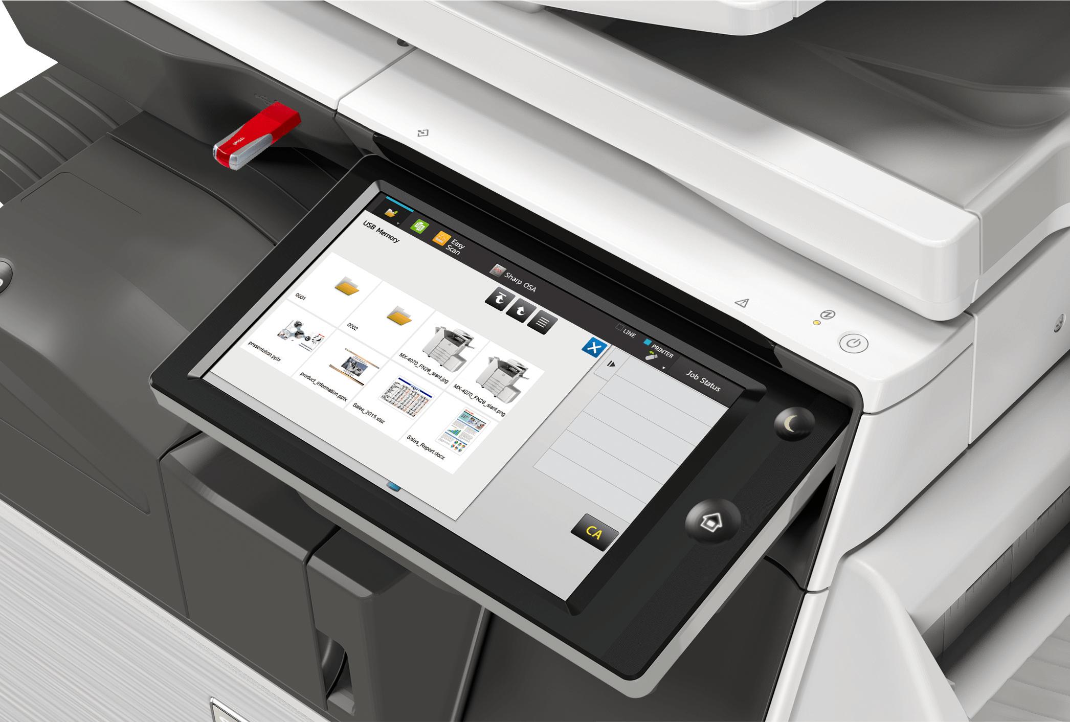 Sharp photocopier touch screen